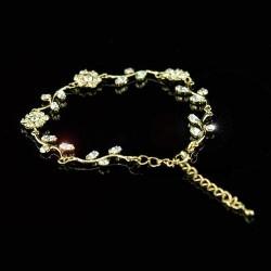 Bracelet fleurs strass sur monture or