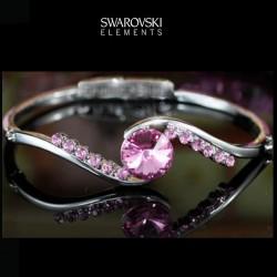 Bracelet en cristal Swarovski rose fuschia