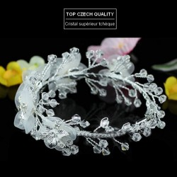 Bracelet mariée fleurs voile blanc et cristal