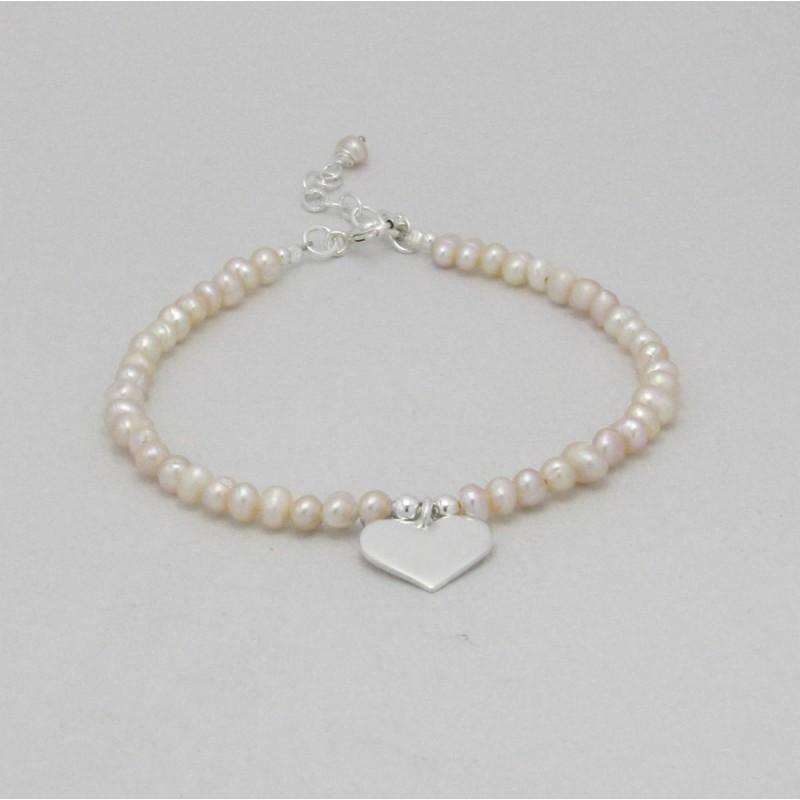 Bracelet mariee perles ivoire peche et coeur