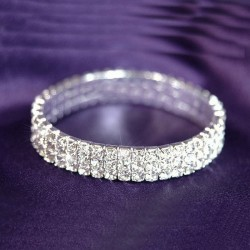Bracelet 3 rangs strass élastique