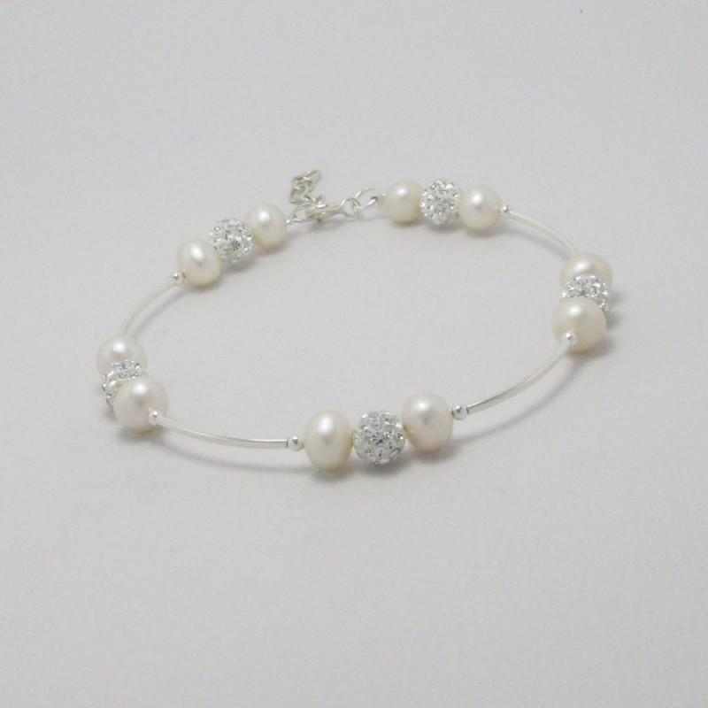 Bracelet perles et shamballa argent