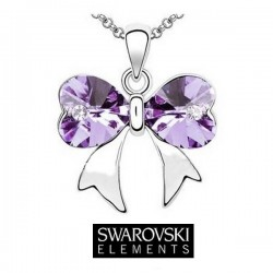 Collier petit noeud cristal Swarovski violet