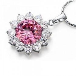 Collier pendentif fleur cristal rose