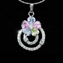 collier + pendentif cristal multicolore