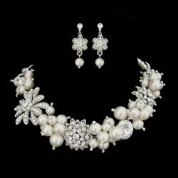 Parure bijoux perles ivoires et cristal