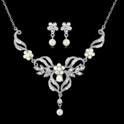 Parure bijoux mariage élégant perles cristal
