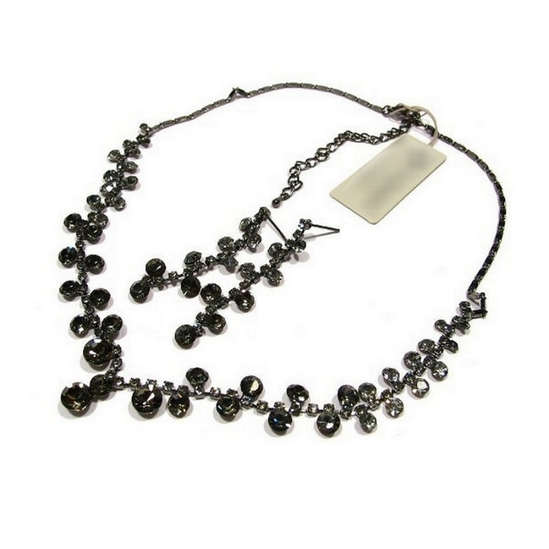 Parure bijoux cristal noir