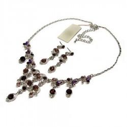 Parure bijoux cristal violet prune