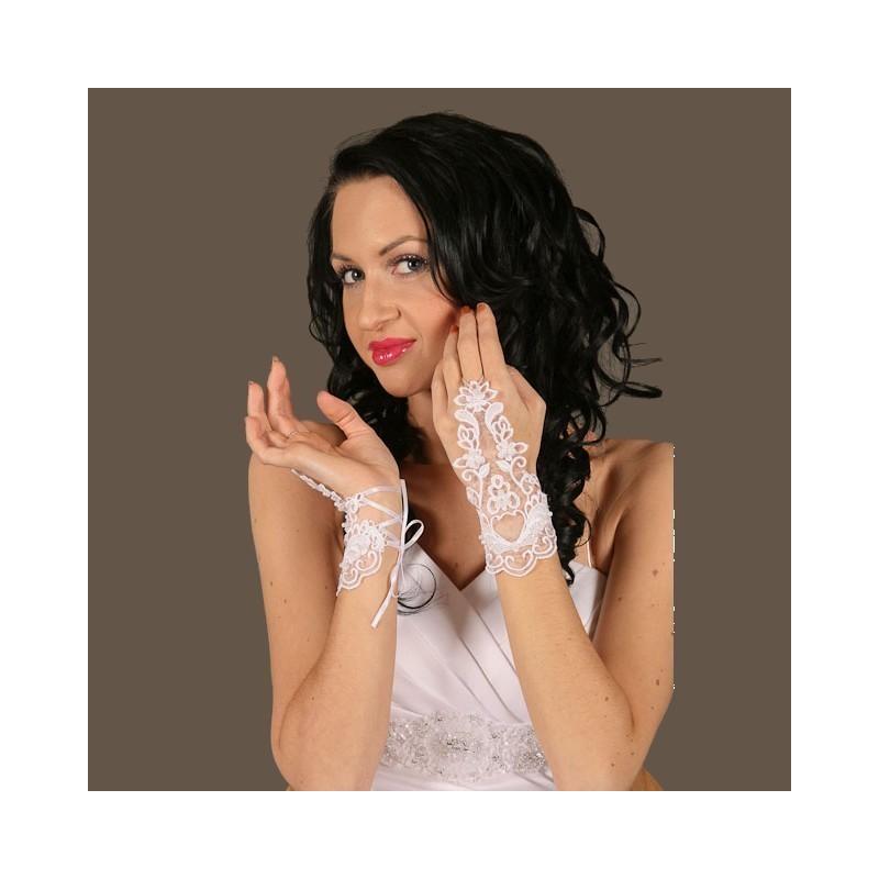 Gants mariage dentelle ajourée laçage poignet