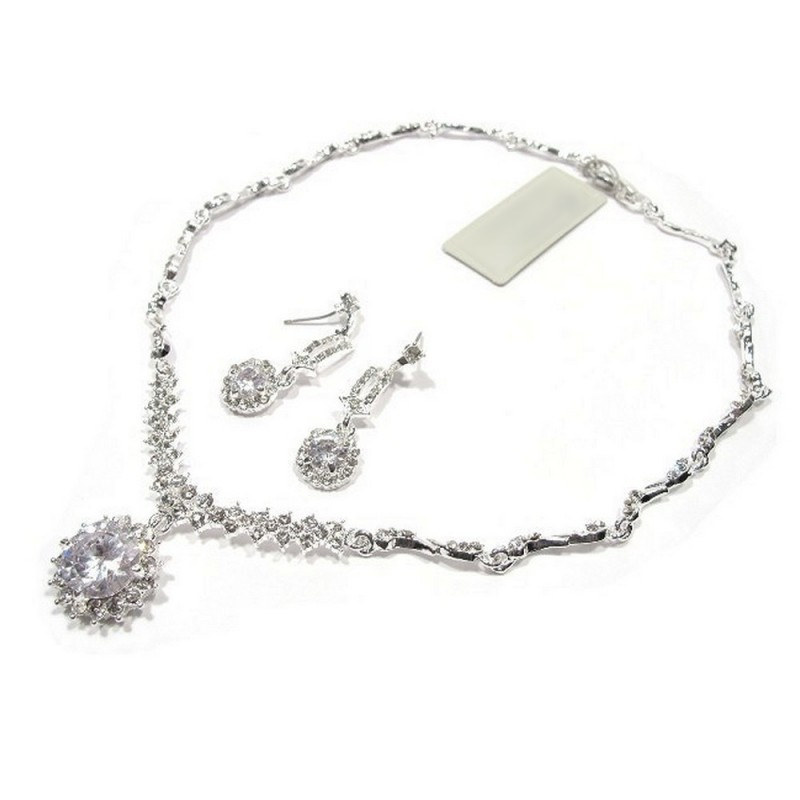 Parure bijoux de mariee cristal