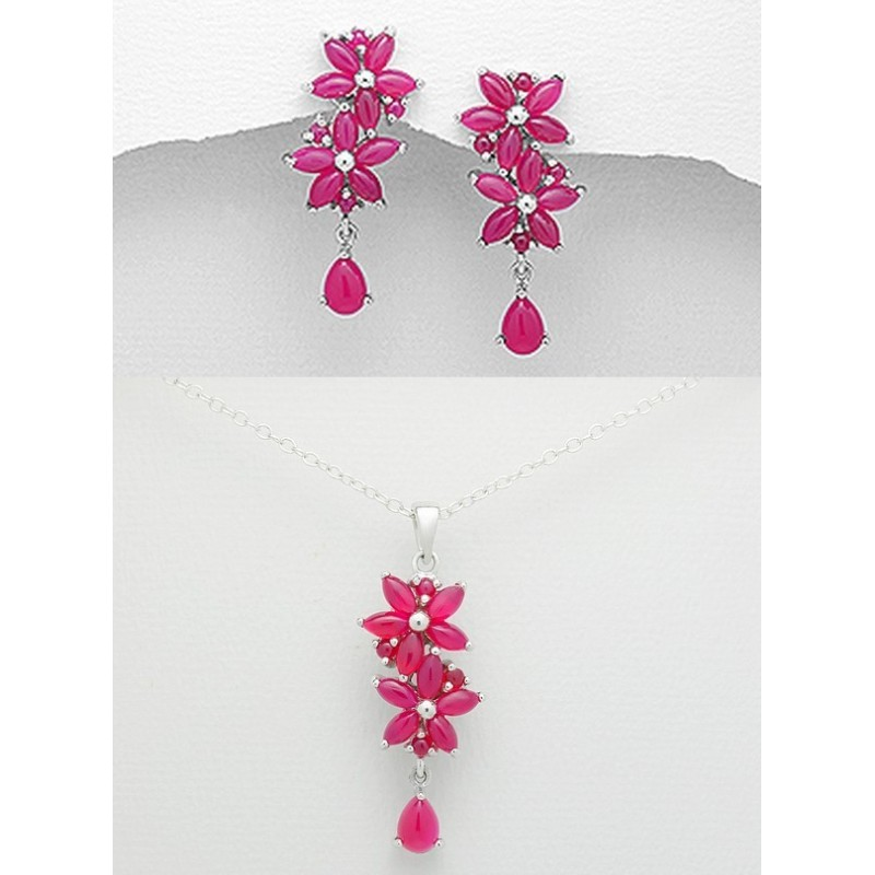 Parure de bijoux aventurine rose