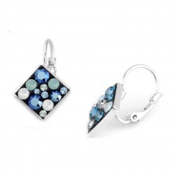 Parure bijoux cristal swarovski bleu et blanc