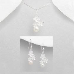 Parure bijoux fleur argent et perles