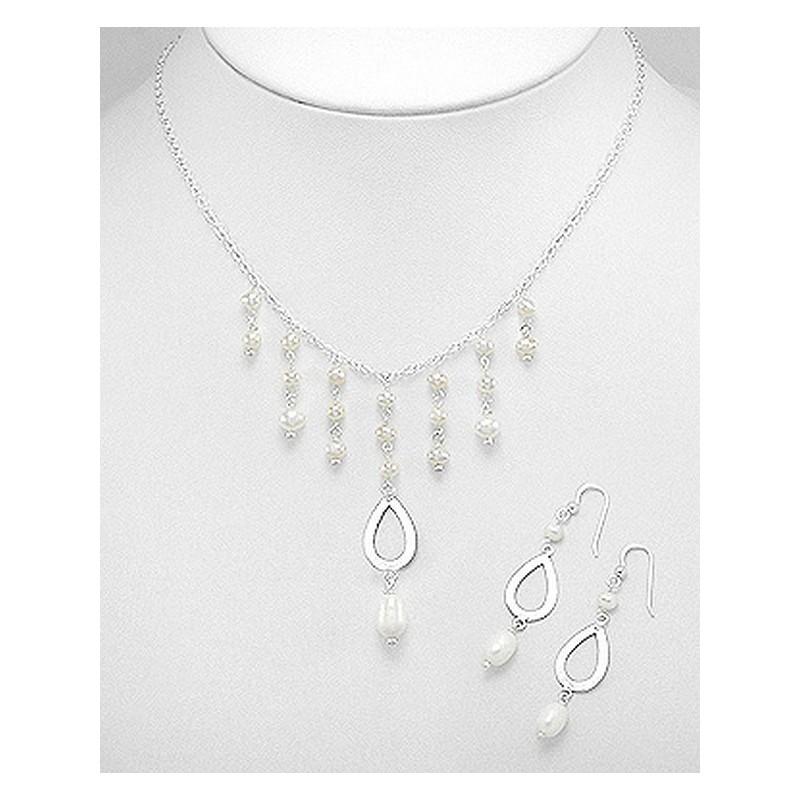 Parure bijoux mariee perles et argent