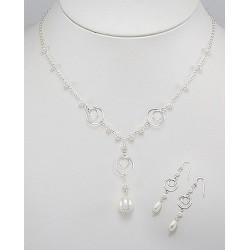 Parure de bijoux perles et argent