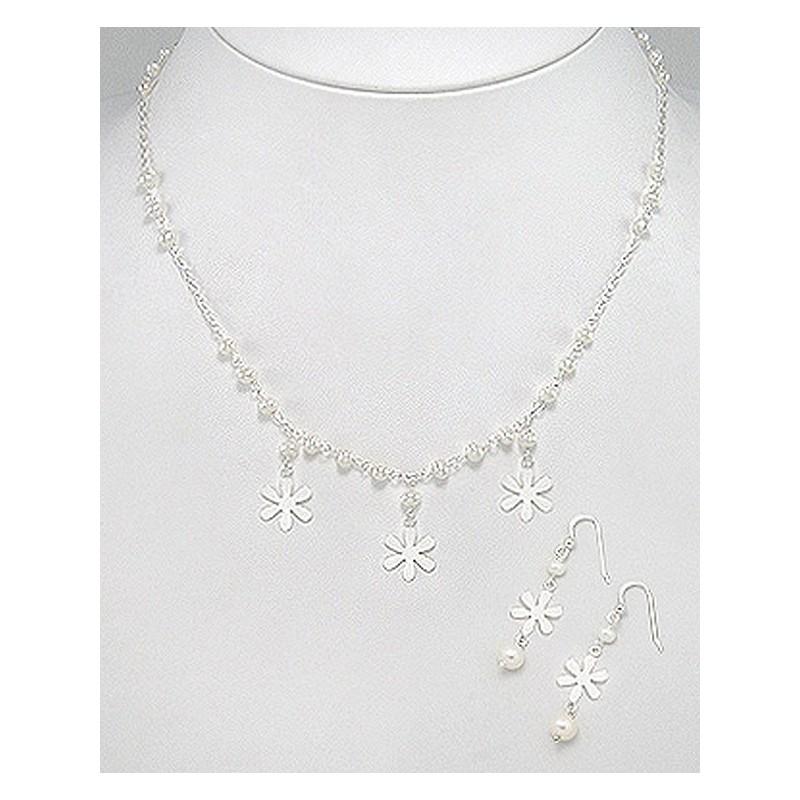 Parure de bijoux perles et étoiles argent