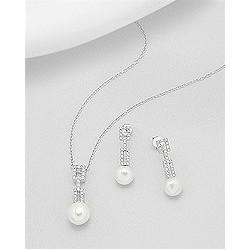 Parure bijoux perles et barrette strass