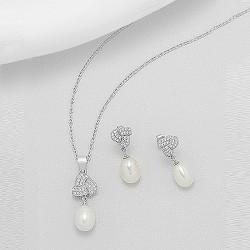 Parure de bijoux cristal et goutte perle