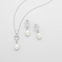 Parure de mariée coeur cristal et perles