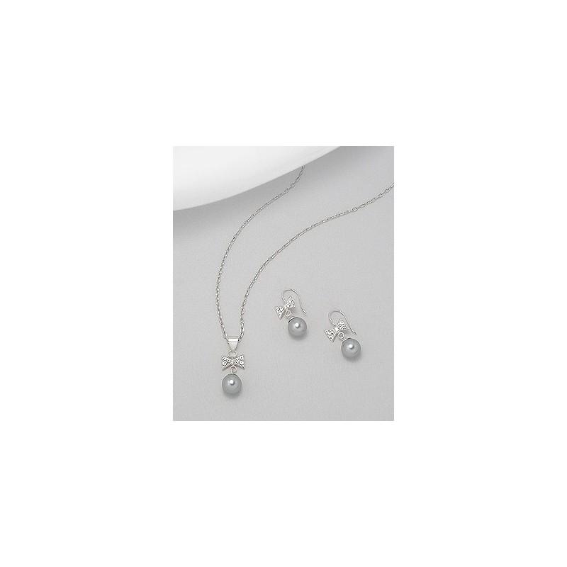 Parure bijoux mariee noeud strass et perle grise