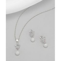 Parure de bijoux étoile cristal et perle blanc