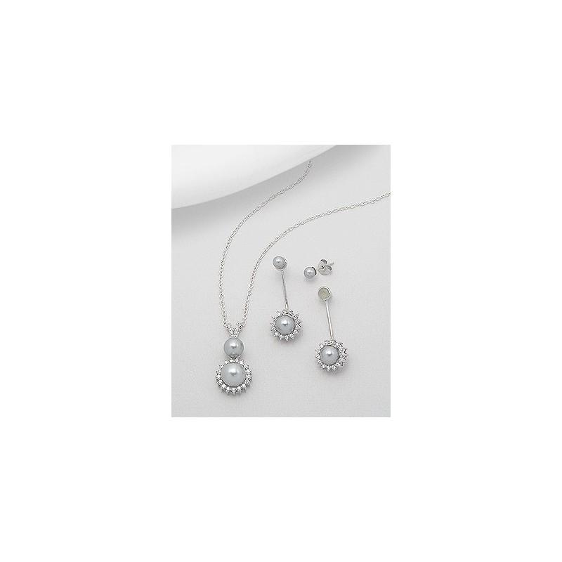 Parure bijoux perles grises et cristal