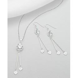 Parure bijoux flêches coeurs cristal