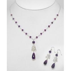 Parure bijoux améthiste violet