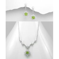 Parure de bijoux peridot vert anis