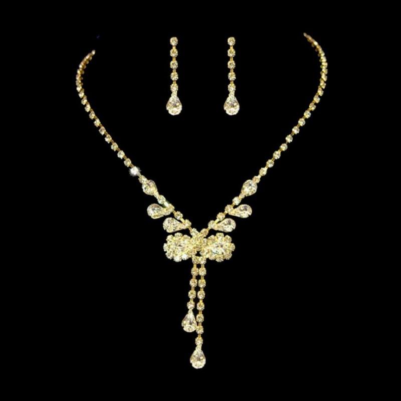 Parure de bijoux papillon cristal or