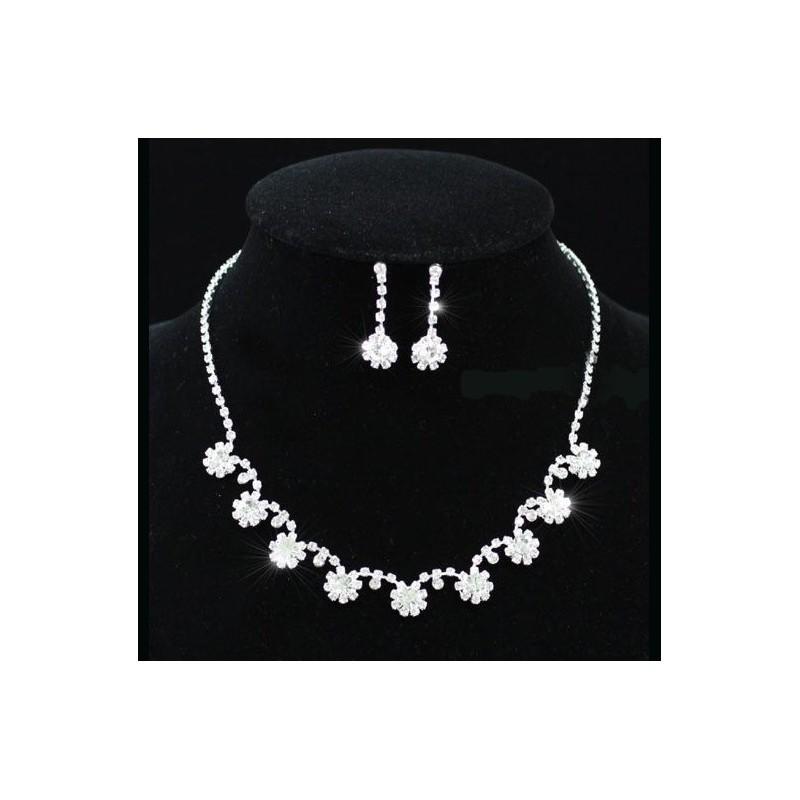 Parure bijoux mariage cristal et perles
