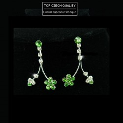 Parure bijoux mariage fleurs cristal vert