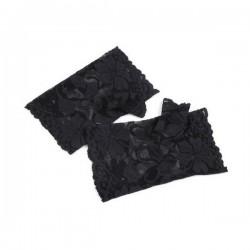 Mitaines noires courtes dentelle stretch