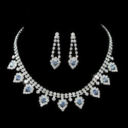 Parure bijoux mariage cristal bleu