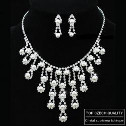 Parure mariage large avec perles et cristal