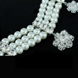 Bijoux mariee triple rang perles et cristal Swarovski