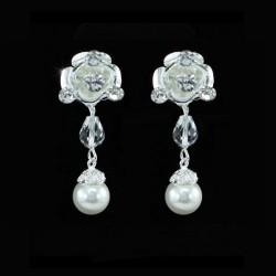 Parure de bijoux mariée double rangee perles et cristal