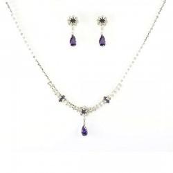 Parure bijoux mariage goutte cristal violet