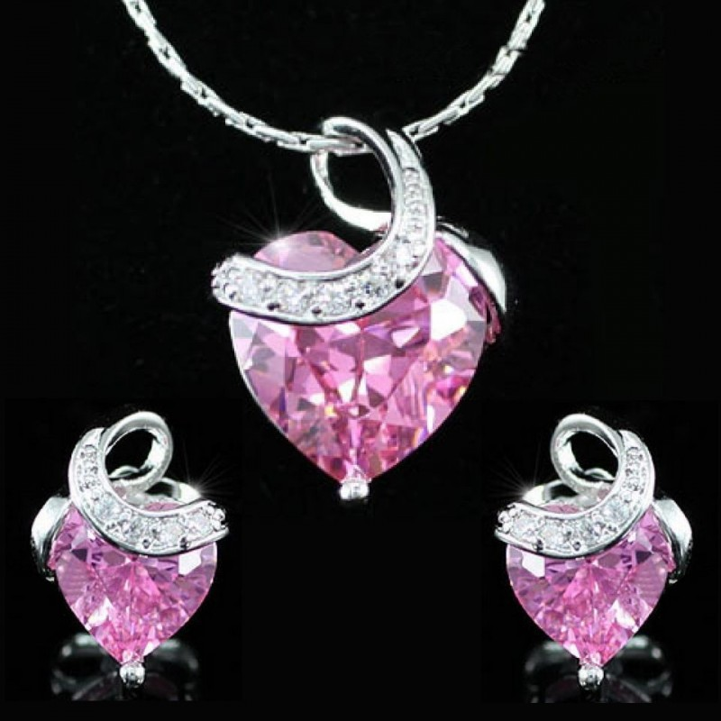 Parure bijoux cristal coeur rose
