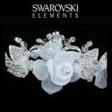 Diadème de mariée fleur voile blanc et cristal