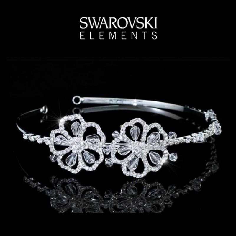 Diademe de mariee fleurs Swarovski