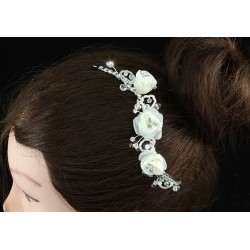 Accessoire de coiffure mariage fleurs ivoire