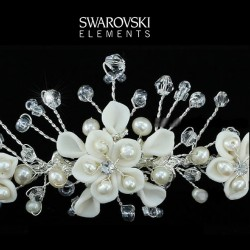 Diademe mariage cristal et fleurs ceramique