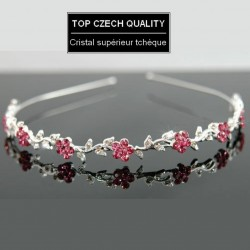 Headband mariage cristal fleurs rose fuchsia
