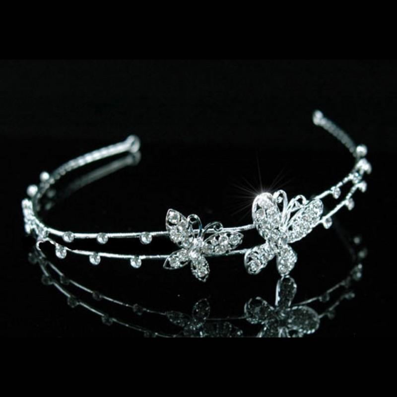 Diademe en cristal papillon