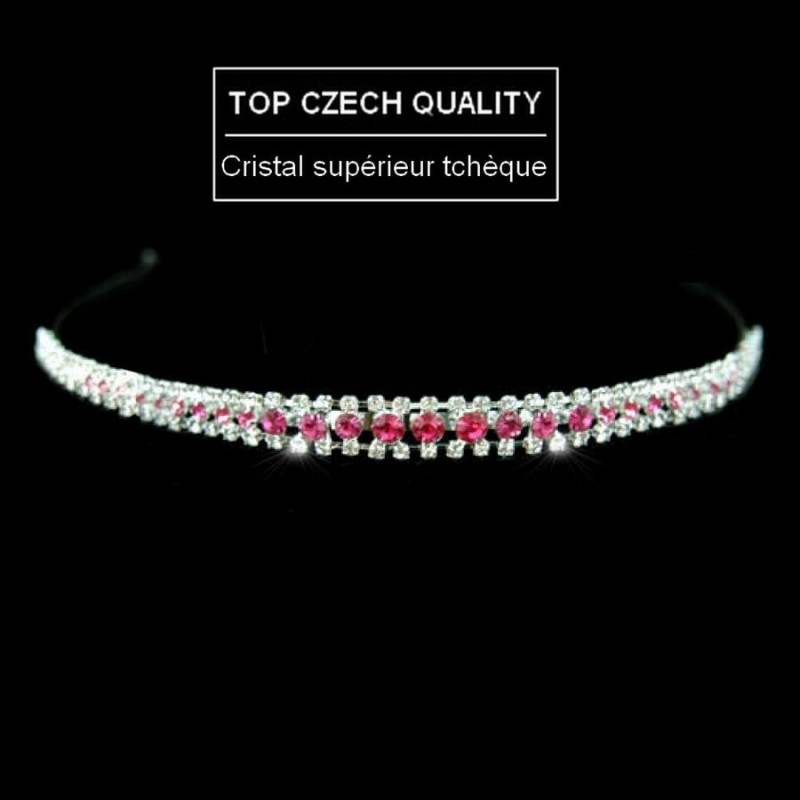 Headband cristal rose fuschia