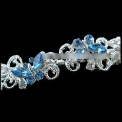 Headband mariage papillons cristal bleu turquoise
