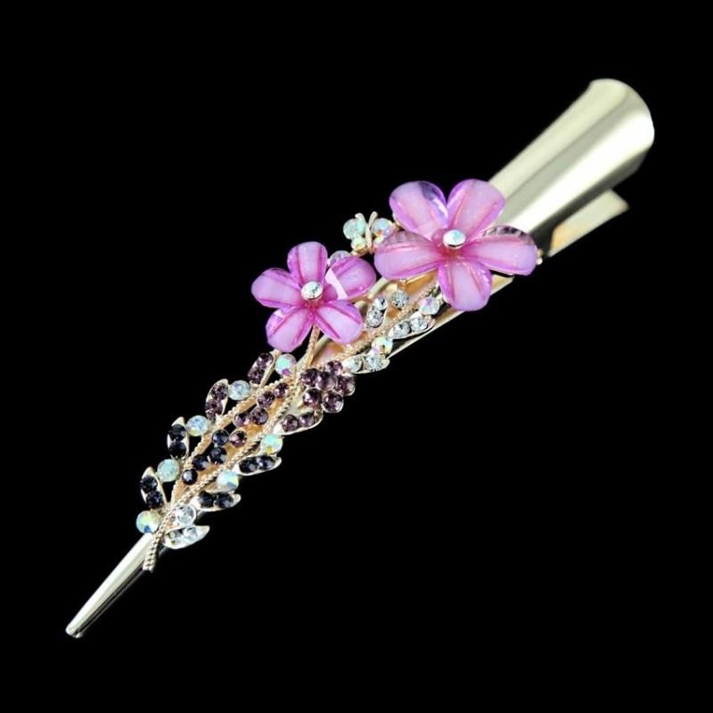 Pince pour cheveux fleurs cristal violet