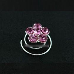 6 spirales cheveux fleur cristal rose